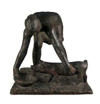 Kenar Antoni, Świniarka, 1955, rzeźba, brąz, odlew, Muzeum Ziemi Lubuskiej w Zielonej Górze