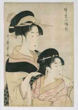 Kitakawa Utamaro (1754-1806), Dyptyk z Takeshiba (fragment), 1790-1799 (?) drzeworyt barwny (nishiki-e) na papierze żeberkowym, wł. Muzeum Narodowe w Poznaniu
